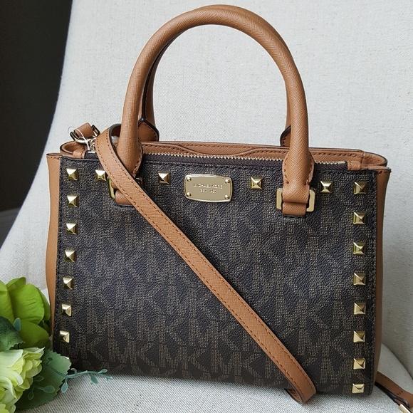 3c2e8b6b0d9db0 Michael Kors Bags | Xs Kellen Studded Satchel Bag Brown | Poshmark